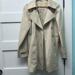 MK cream trench coat with silver buttons